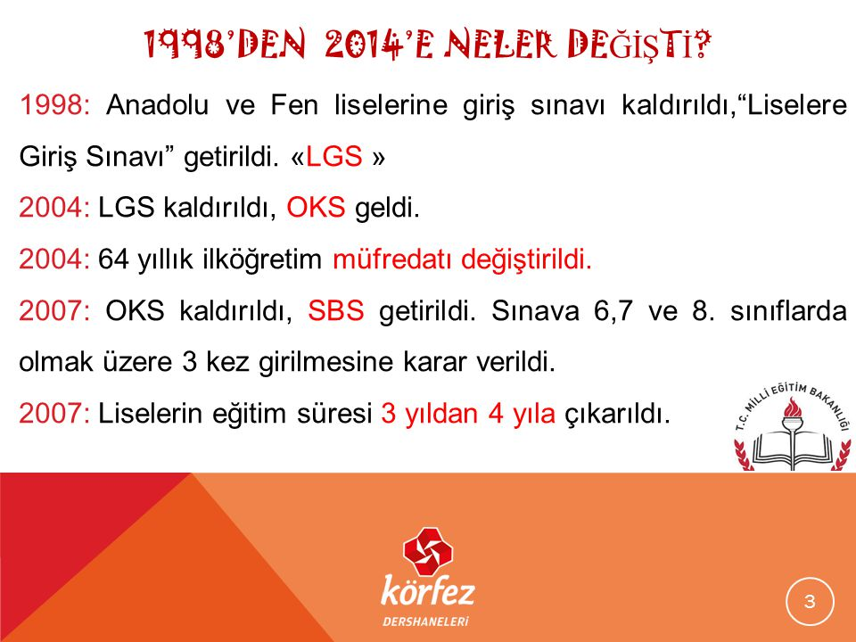 """1998'DEN 2014'E NELER DE ĞİŞ T İ ? 1998: Anadolu ve Fen liselerine giriş sınavı kaldırıldı,""""Liselere Giriş Sınavı"""" getirildi. «LGS » 2004: LGS kaldırı"""