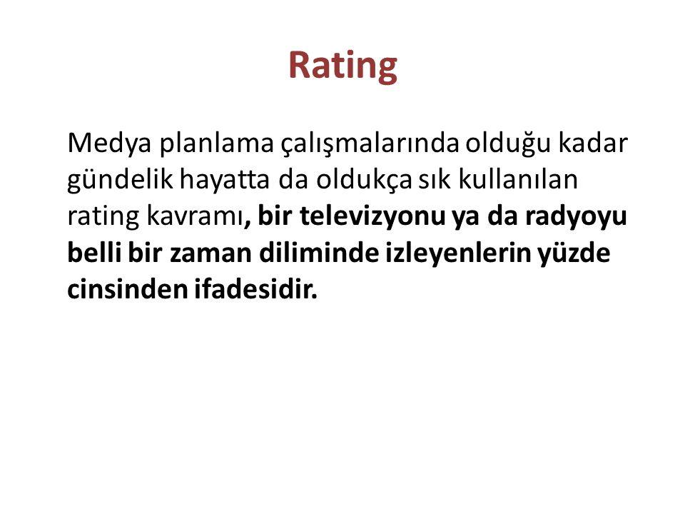 Rating Medya planlama çalışmalarında olduğu kadar gündelik hayatta da oldukça sık kullanılan rating kavramı, bir televizyonu ya da radyoyu belli bir z