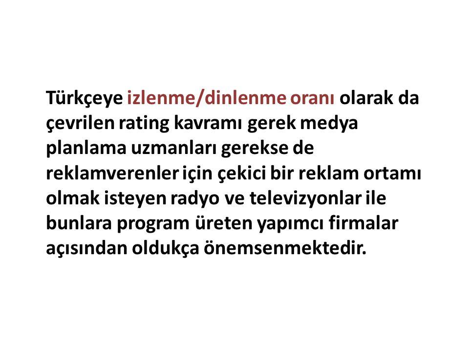 Türkçeye izlenme/dinlenme oranı olarak da çevrilen rating kavramı gerek medya planlama uzmanları gerekse de reklamverenler için çekici bir reklam orta
