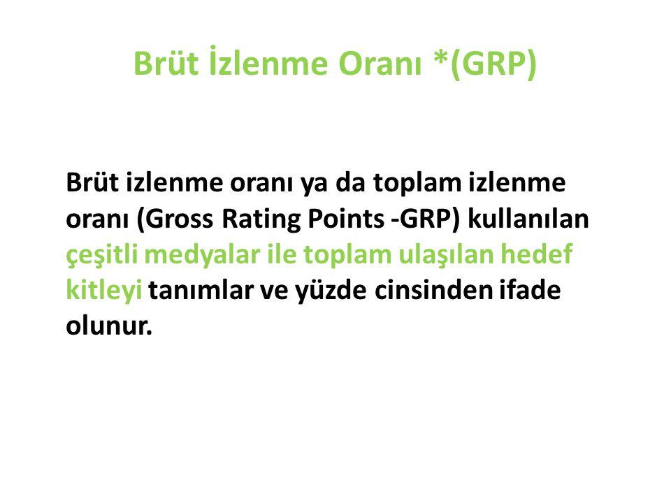 Brüt İzlenme Oranı *(GRP) Brüt izlenme oranı ya da toplam izlenme oranı (Gross Rating Points -GRP) kullanılan çeşitli medyalar ile toplam ulaşılan hed