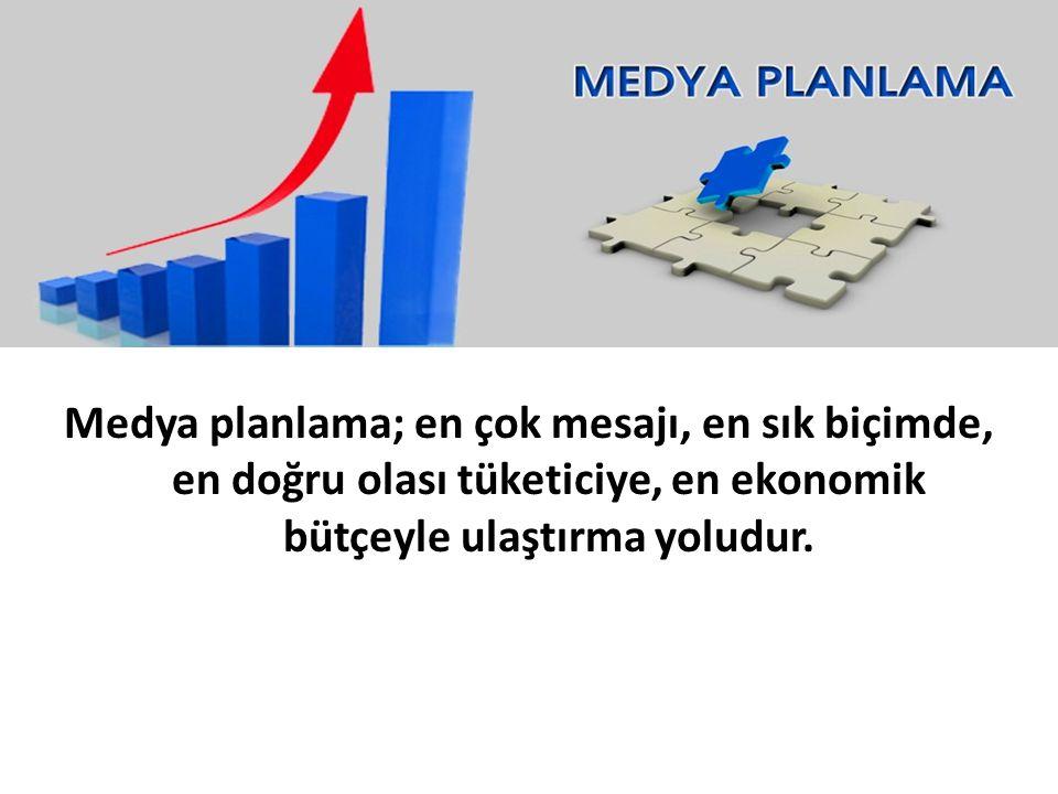Medya planlama; en çok mesajı, en sık biçimde, en doğru olası tüketiciye, en ekonomik bütçeyle ulaştırma yoludur.