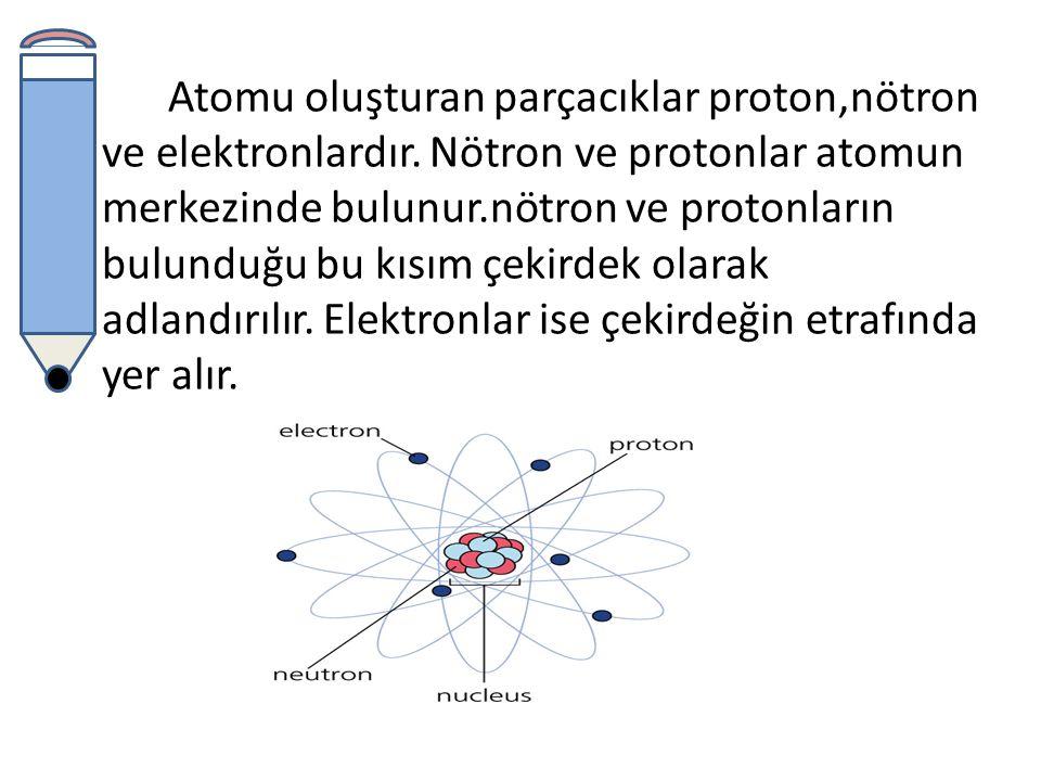 Atomu oluştura parçacıklar farklı yüklere sahiptir.farklı yüke sahip bu parçacıklar birbirini etkileyerek bir arada bulunur ve atom oluşturur.
