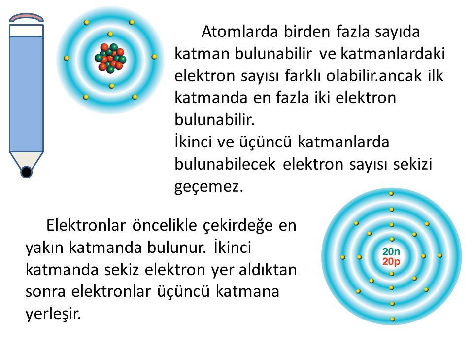 Aynı atomda bulunan elektronlar çekirdekten farklı uzaklıklarda bulunur.