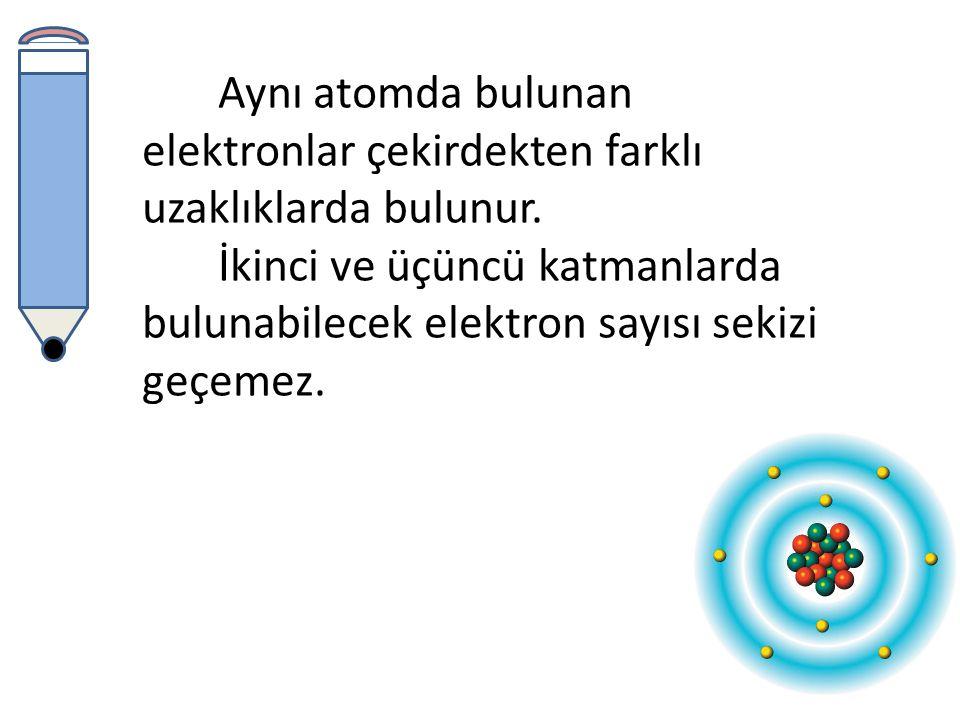 Elementlere ait atomların proton ve elektron sayıları birbirine eşit olduğu için atomlar yüksüz yapıdadır.