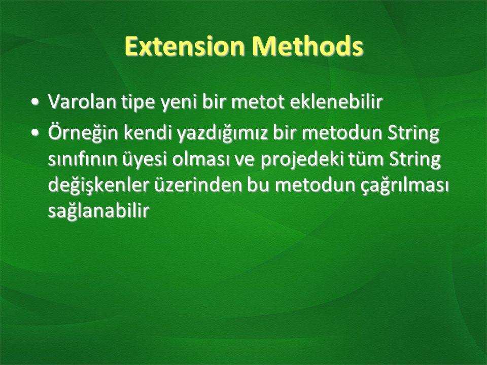 Extension Methods Varolan tipe yeni bir metot eklenebilirVarolan tipe yeni bir metot eklenebilir Örneğin kendi yazdığımız bir metodun String sınıfının üyesi olması ve projedeki tüm String değişkenler üzerinden bu metodun çağrılması sağlanabilirÖrneğin kendi yazdığımız bir metodun String sınıfının üyesi olması ve projedeki tüm String değişkenler üzerinden bu metodun çağrılması sağlanabilir