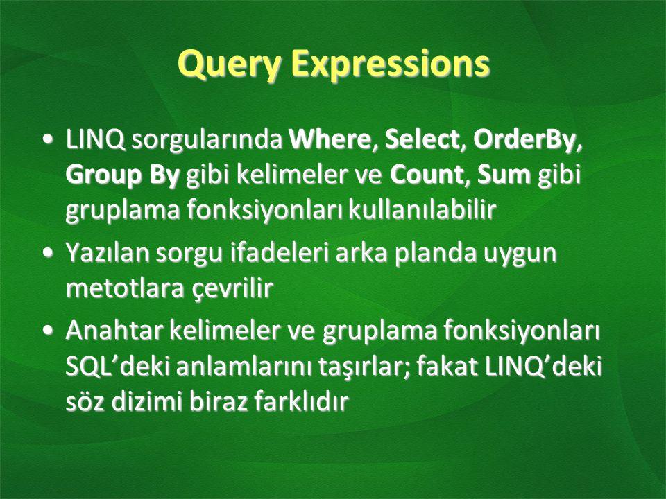 Query Expressions LINQ sorgularında Where, Select, OrderBy, Group By gibi kelimeler ve Count, Sum gibi gruplama fonksiyonları kullanılabilirLINQ sorgularında Where, Select, OrderBy, Group By gibi kelimeler ve Count, Sum gibi gruplama fonksiyonları kullanılabilir Yazılan sorgu ifadeleri arka planda uygun metotlara çevrilirYazılan sorgu ifadeleri arka planda uygun metotlara çevrilir Anahtar kelimeler ve gruplama fonksiyonları SQL'deki anlamlarını taşırlar; fakat LINQ'deki söz dizimi biraz farklıdırAnahtar kelimeler ve gruplama fonksiyonları SQL'deki anlamlarını taşırlar; fakat LINQ'deki söz dizimi biraz farklıdır