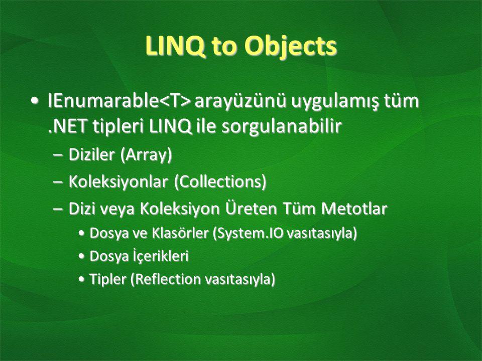LINQ to Objects IEnumarable arayüzünü uygulamış tüm.NET tipleri LINQ ile sorgulanabilirIEnumarable arayüzünü uygulamış tüm.NET tipleri LINQ ile sorgul