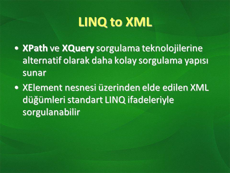 LINQ to XML XPath ve XQuery sorgulama teknolojilerine alternatif olarak daha kolay sorgulama yapısı sunarXPath ve XQuery sorgulama teknolojilerine alt