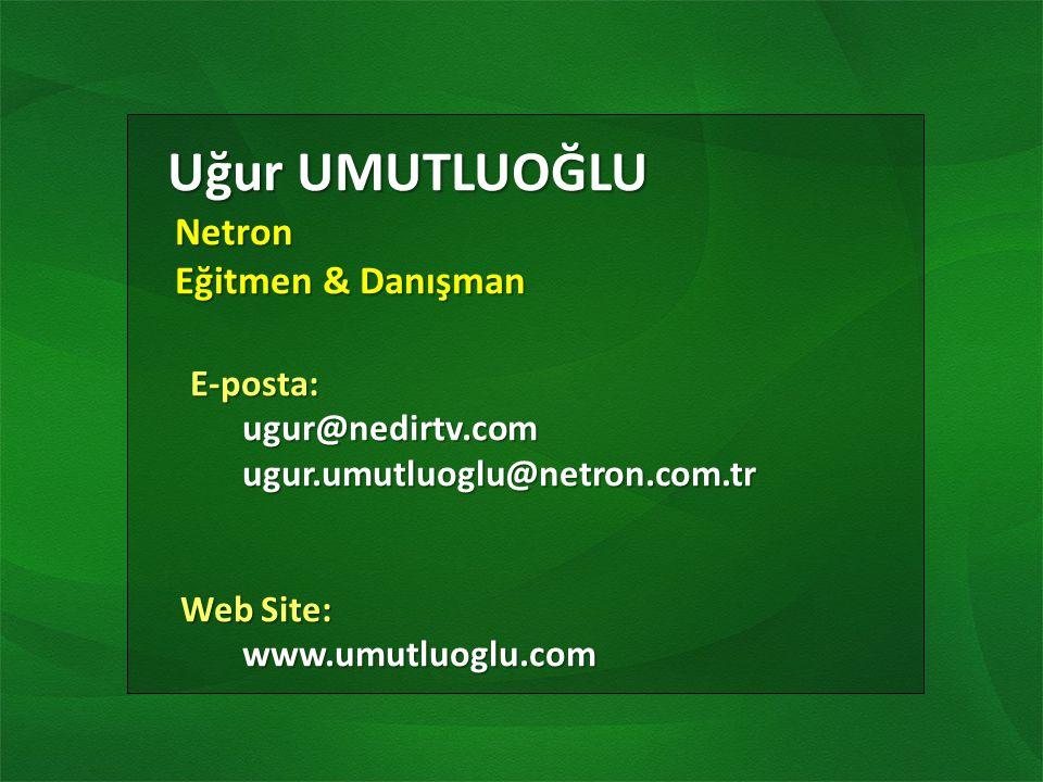 Uğur UMUTLUOĞLU Uğur UMUTLUOĞLU Netron Netron Eğitmen & Danışman Eğitmen & Danışman E-posta: E-posta:ugur@nedirtv.com ugur.umutluoglu@netron.com.tr ugur.umutluoglu@netron.com.tr Web Site: Web Site:www.umutluoglu.com