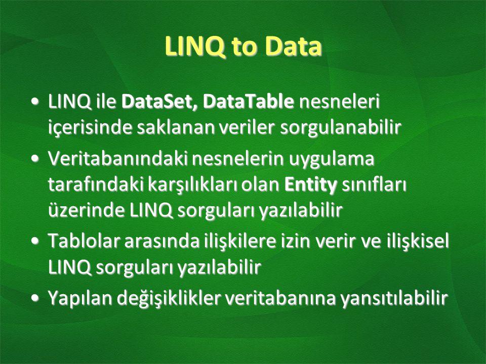LINQ to Data LINQ ile DataSet, DataTable nesneleri içerisinde saklanan veriler sorgulanabilirLINQ ile DataSet, DataTable nesneleri içerisinde saklanan veriler sorgulanabilir Veritabanındaki nesnelerin uygulama tarafındaki karşılıkları olan Entity sınıfları üzerinde LINQ sorguları yazılabilirVeritabanındaki nesnelerin uygulama tarafındaki karşılıkları olan Entity sınıfları üzerinde LINQ sorguları yazılabilir Tablolar arasında ilişkilere izin verir ve ilişkisel LINQ sorguları yazılabilirTablolar arasında ilişkilere izin verir ve ilişkisel LINQ sorguları yazılabilir Yapılan değişiklikler veritabanına yansıtılabilirYapılan değişiklikler veritabanına yansıtılabilir