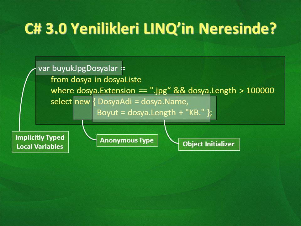 C# 3.0 Yenilikleri LINQ'in Neresinde.