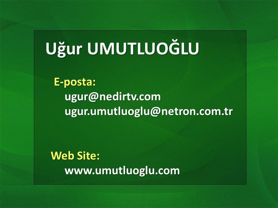 Uğur UMUTLUOĞLU Uğur UMUTLUOĞLU E-posta: E-posta:ugur@nedirtv.com ugur.umutluoglu@netron.com.tr ugur.umutluoglu@netron.com.tr Web Site: Web Site:www.umutluoglu.com