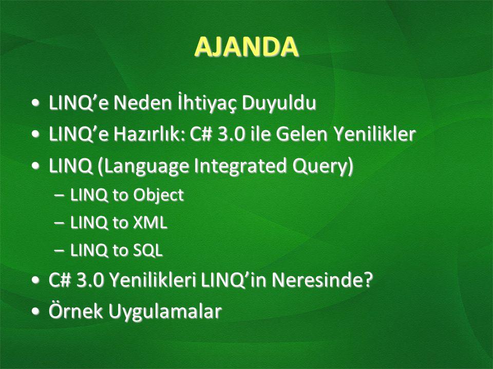 Query Expressions LINQ (Language Integrated Query - Dile entegre sorgu)LINQ (Language Integrated Query - Dile entegre sorgu) T-SQL de tablolara, Xquery'de Xml verilere yapılan sorguların benzeri artık uygulamadaki nesnelere de yapılabilirT-SQL de tablolara, Xquery'de Xml verilere yapılan sorguların benzeri artık uygulamadaki nesnelere de yapılabilir IEnumarable arayüzünü uygulamış tüm nesneler LINQ ifadeleriyle sorgulanabilirIEnumarable arayüzünü uygulamış tüm nesneler LINQ ifadeleriyle sorgulanabilir IEnumarable arayüzünü uygulamamış nesneler Extension Method'lar sayesinde sorgulanır hale getirilebilirIEnumarable arayüzünü uygulamamış nesneler Extension Method'lar sayesinde sorgulanır hale getirilebilir