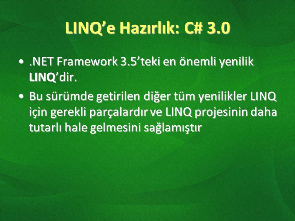 LINQ'e Hazırlık: C# 3.0.NET Framework 3.5'teki en önemli yenilik LINQ'dir..NET Framework 3.5'teki en önemli yenilik LINQ'dir. Bu sürümde getirilen diğ