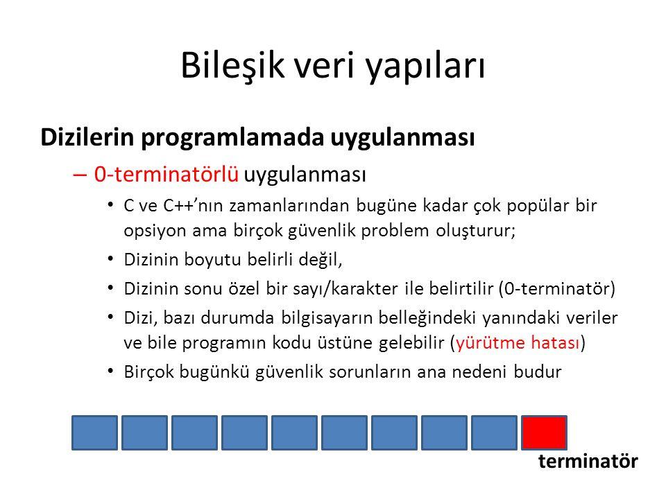 Bileşik veri yapıları Dizilerin programlamada uygulanması – 0-terminatörlü uygulanması C ve C++'nın zamanlarından bugüne kadar çok popülar bir opsiyon