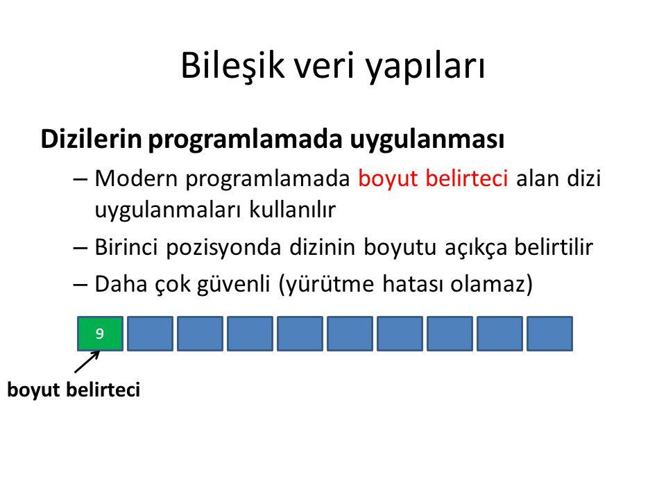 Bileşik veri yapıları Dizilerin programlamada uygulanması – Modern programlamada boyut belirteci alan dizi uygulanmaları kullanılır – Birinci pozisyon