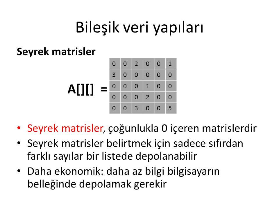 Bileşik veri yapıları Seyrek matrisler Seyrek matrisler, çoğunlukla 0 içeren matrislerdir Seyrek matrisler belirtmek için sadece sıfırdan farklı sayıl