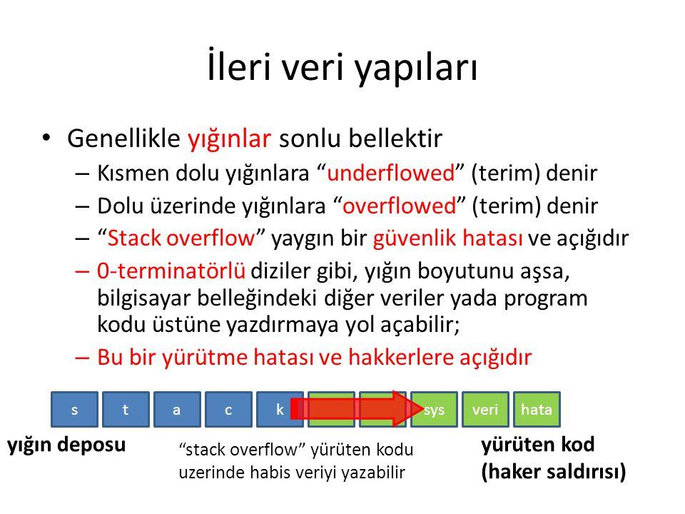 """İleri veri yapıları Genellikle yığınlar sonlu bellektir – Kısmen dolu yığınlara """"underflowed"""" (terim) denir – Dolu üzerinde yığınlara """"overflowed"""" (te"""