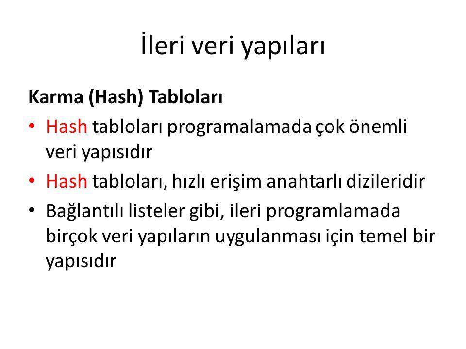 İleri veri yapıları Karma (Hash) Tabloları Hash tabloları programalamada çok önemli veri yapısıdır Hash tabloları, hızlı erişim anahtarlı dizileridir