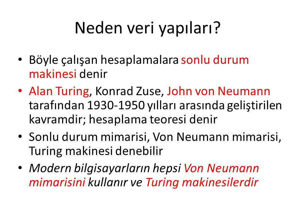 Von Neumann mimarisi Bir program ve bir durum/veriler içerir Program, makinenin talimat listesidir Veri, makinenin durumunu tanımlar Talimatlar, makinenin durumunu güncelleştirmeyi çalışır Son talimatta makinenin durumu çözülecek problemin çözümüne eşit olmasını isteriz