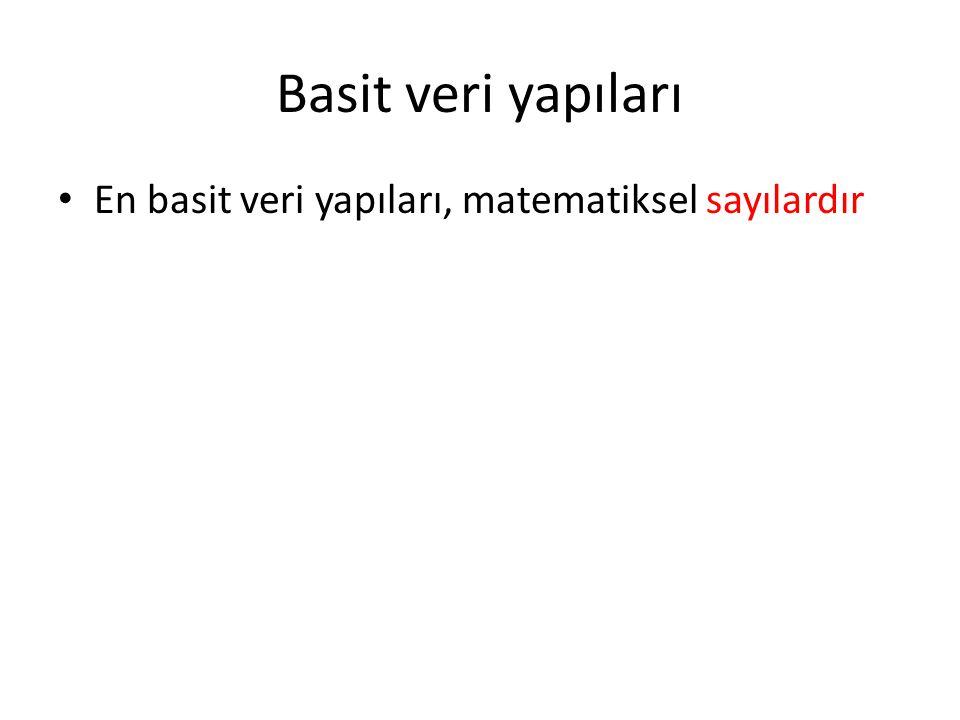 İleri veri yapıları Küme veri yapısı Normal matematiksel küme – Nesnenin üyeliği operasyonu (nesne kümenin üyesi mi ?) – Nesneyi kümeye ekleme operasyonu – Nesneyi kümeden çıkartma operasyonu – Yineleyici (iterator) nesnesi/özelliği (kümenin bütün nesneleri almak için iterator/yineleyici tekrar tekrar çağırılabilir) – Boyut nesnesi/özelliği (kümenin boyutu) – Programlama dillerinde her zaman dinamik veri yapısıdır – sürekli değiştirme ve güncelleştirme sağlamalı