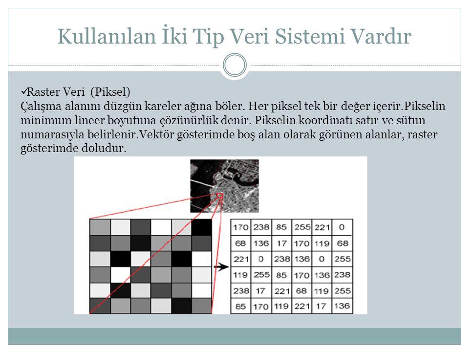 Kullanılan İki Tip Veri Sistemi Vardır Raster Veri (Piksel) Çalışma alanını düzgün kareler ağına böler. Her piksel tek bir değer içerir.Pikselin minim