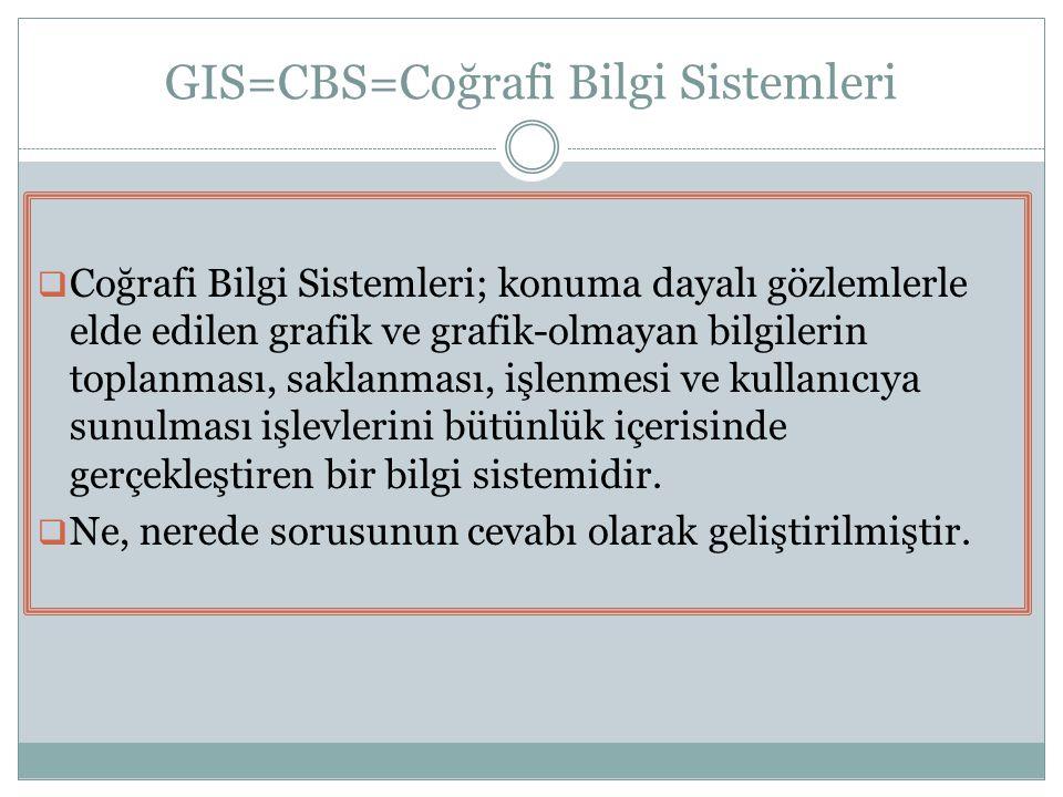 GIS=CBS=Coğrafi Bilgi Sistemleri  Coğrafi Bilgi Sistemleri; konuma dayalı gözlemlerle elde edilen grafik ve grafik-olmayan bilgilerin toplanması, sak