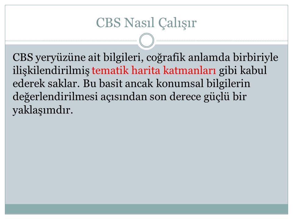 CBS Nasıl Çalışır CBS yeryüzüne ait bilgileri, coğrafik anlamda birbiriyle ilişkilendirilmiş tematik harita katmanları gibi kabul ederek saklar. Bu ba