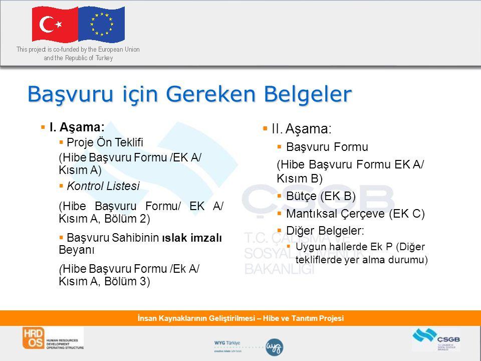 İnsan Kaynaklarının Geliştirilmesi – Hibe ve Tanıtım Projesi Başvuru için Gereken Belgeler  II. Aşama:  Başvuru Formu (Hibe Başvuru Formu EK A/ Kısı