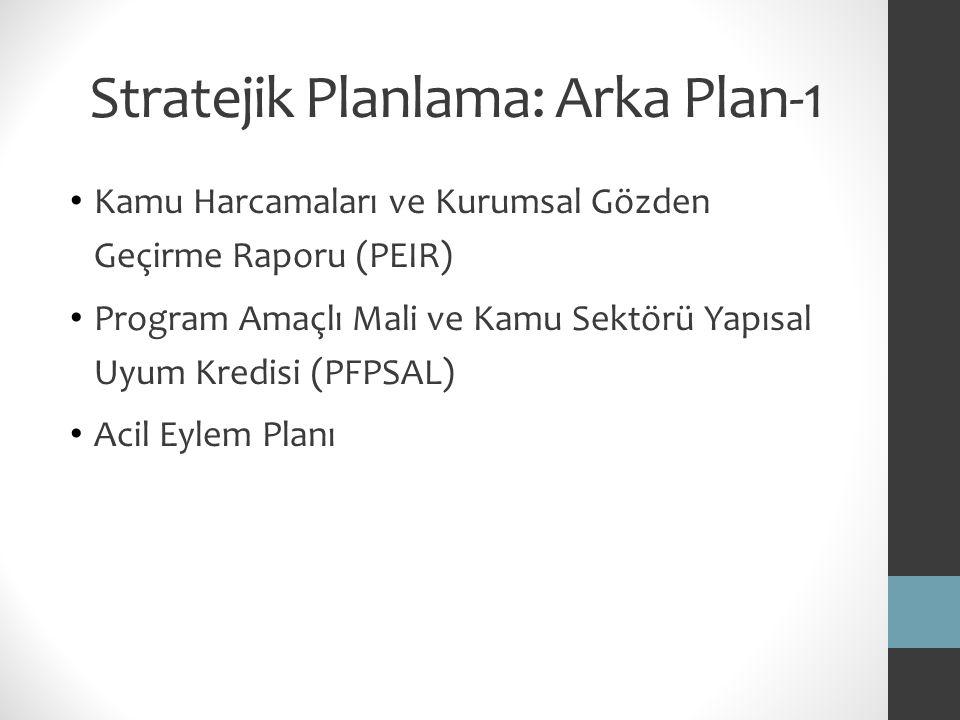 Stratejik Planlama: Arka Plan-1 Kamu Harcamaları ve Kurumsal Gözden Geçirme Raporu (PEIR) Program Amaçlı Mali ve Kamu Sektörü Yapısal Uyum Kredisi (PF