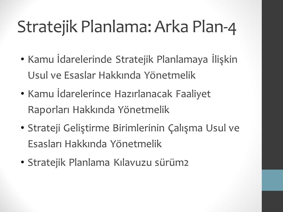 Stratejik Planlama: Arka Plan-4 Kamu İdarelerinde Stratejik Planlamaya İlişkin Usul ve Esaslar Hakkında Yönetmelik Kamu İdarelerince Hazırlanacak Faal