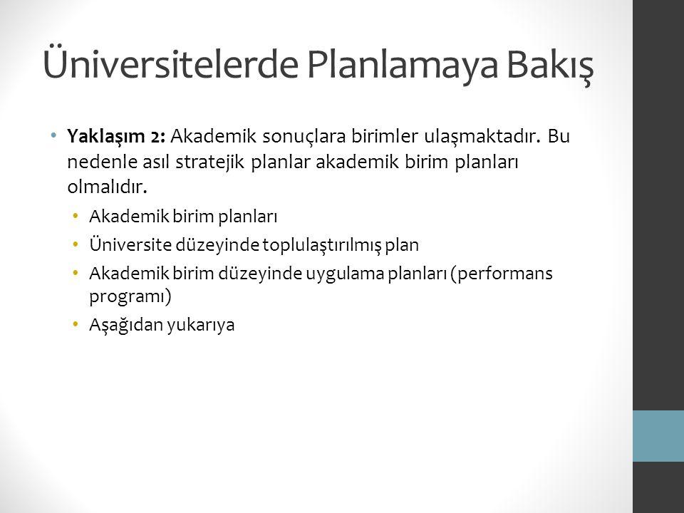 Üniversitelerde Planlamaya Bakış Yaklaşım 2: Akademik sonuçlara birimler ulaşmaktadır. Bu nedenle asıl stratejik planlar akademik birim planları olmal