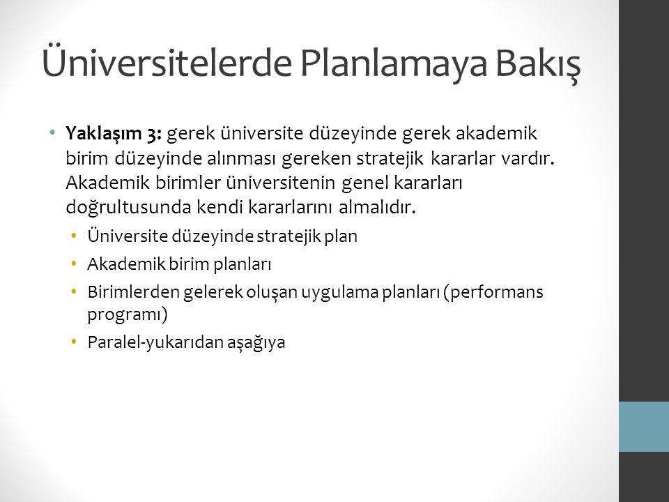 Üniversitelerde Planlamaya Bakış Yaklaşım 3: gerek üniversite düzeyinde gerek akademik birim düzeyinde alınması gereken stratejik kararlar vardır. Aka