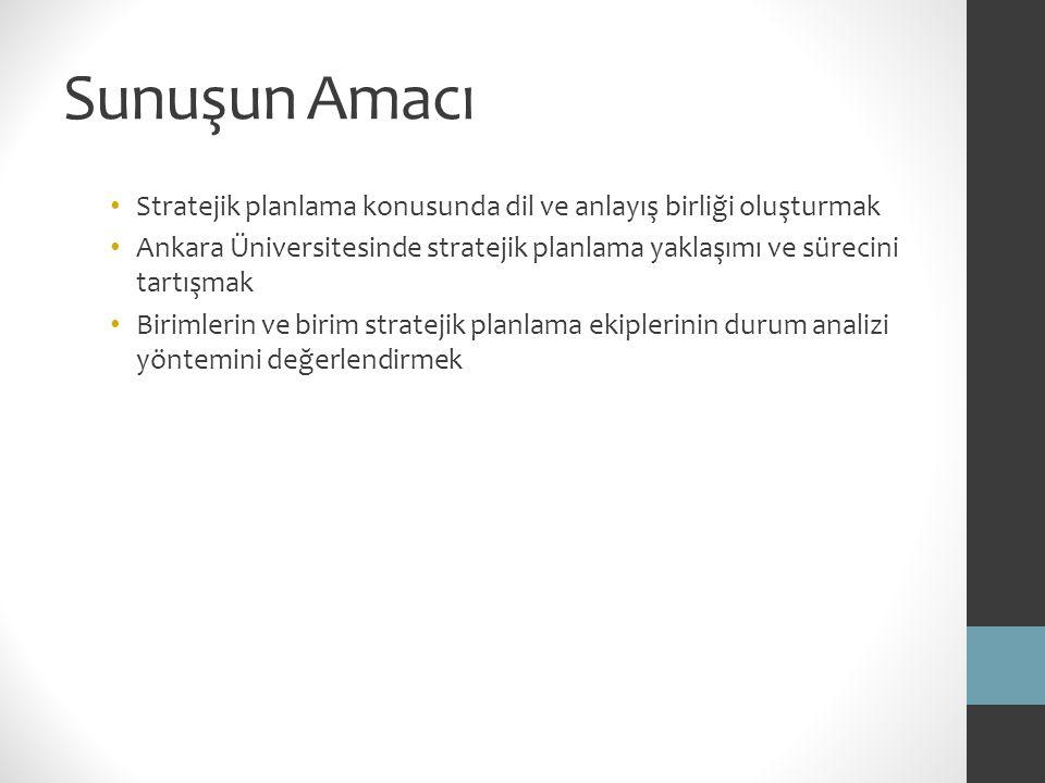 Sunuşun Amacı Stratejik planlama konusunda dil ve anlayış birliği oluşturmak Ankara Üniversitesinde stratejik planlama yaklaşımı ve sürecini tartışmak