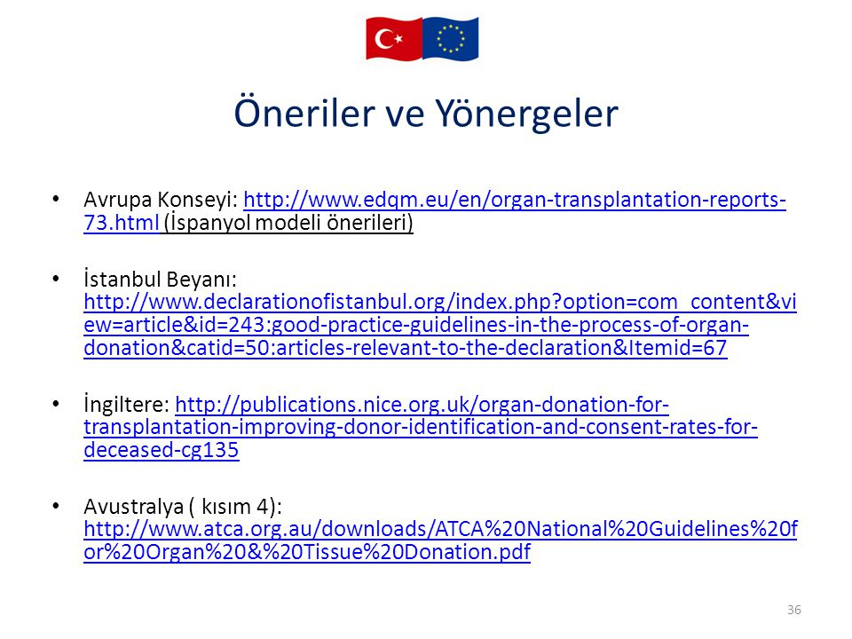 Öneriler ve Yönergeler Avrupa Konseyi: http://www.edqm.eu/en/organ-transplantation-reports- 73.html (İspanyol modeli önerileri)http://www.edqm.eu/en/organ-transplantation-reports- 73.html İstanbul Beyanı: http://www.declarationofistanbul.org/index.php?option=com_content&vi ew=article&id=243:good-practice-guidelines-in-the-process-of-organ- donation&catid=50:articles-relevant-to-the-declaration&Itemid=67 http://www.declarationofistanbul.org/index.php?option=com_content&vi ew=article&id=243:good-practice-guidelines-in-the-process-of-organ- donation&catid=50:articles-relevant-to-the-declaration&Itemid=67 İngiltere: http://publications.nice.org.uk/organ-donation-for- transplantation-improving-donor-identification-and-consent-rates-for- deceased-cg135http://publications.nice.org.uk/organ-donation-for- transplantation-improving-donor-identification-and-consent-rates-for- deceased-cg135 Avustralya ( kısım 4): http://www.atca.org.au/downloads/ATCA%20National%20Guidelines%20f or%20Organ%20&%20Tissue%20Donation.pdf http://www.atca.org.au/downloads/ATCA%20National%20Guidelines%20f or%20Organ%20&%20Tissue%20Donation.pdf 36