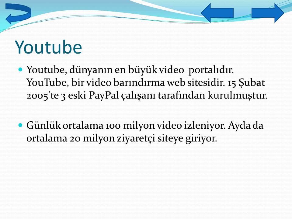 Youtube Youtube, dünyanın en büyük video portalıdır. YouTube, bir video barındırma web sitesidir. 15 Şubat 2005'te 3 eski PayPal çalışanı tarafından k