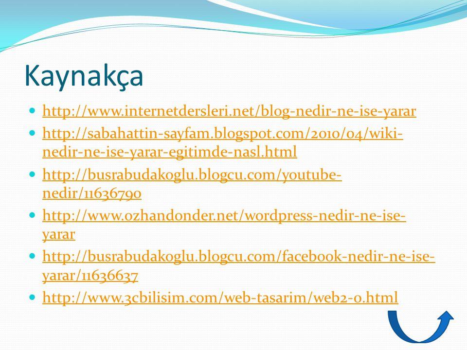 Kaynakça http://www.internetdersleri.net/blog-nedir-ne-ise-yarar http://sabahattin-sayfam.blogspot.com/2010/04/wiki- nedir-ne-ise-yarar-egitimde-nasl.