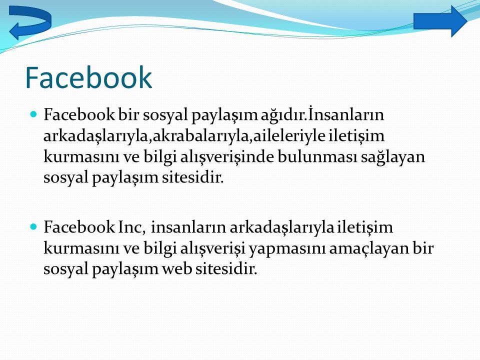 Facebook Facebook bir sosyal paylaşım ağıdır.İnsanların arkadaşlarıyla,akrabalarıyla,aileleriyle iletişim kurmasını ve bilgi alışverişinde bulunması s