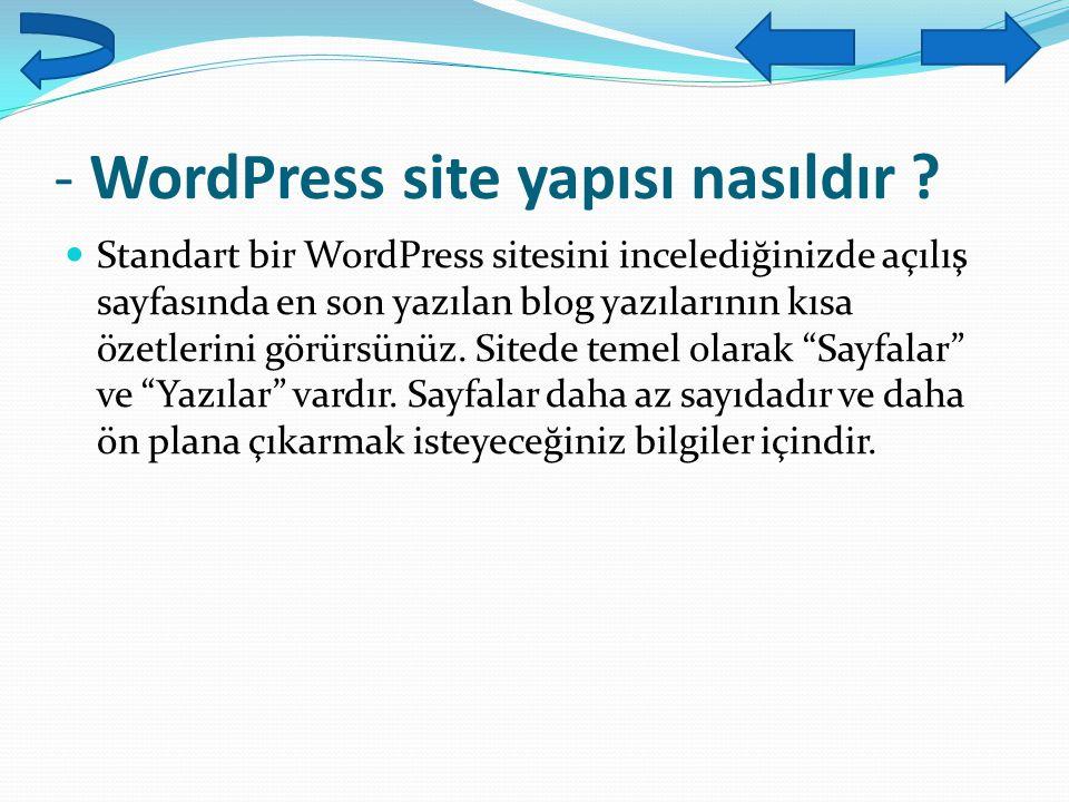 - WordPress site yapısı nasıldır ? Standart bir WordPress sitesini incelediğinizde açılış sayfasında en son yazılan blog yazılarının kısa özetlerini g