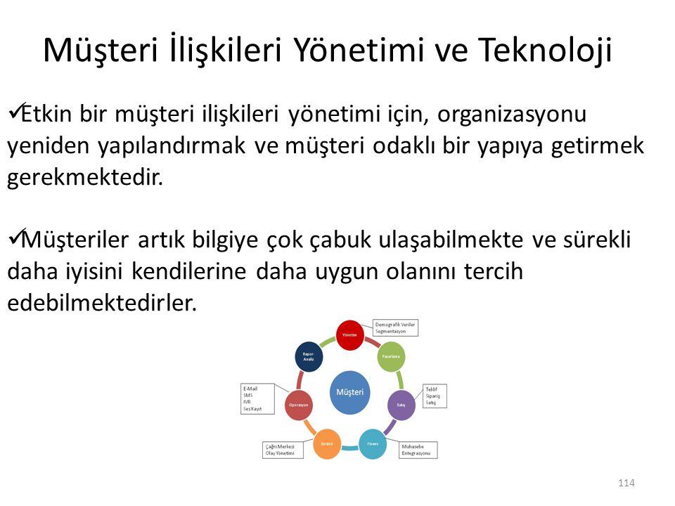 114 Müşteri İlişkileri Yönetimi ve Teknoloji Etkin bir müşteri ilişkileri yönetimi için, organizasyonu yeniden yapılandırmak ve müşteri odaklı bir yap