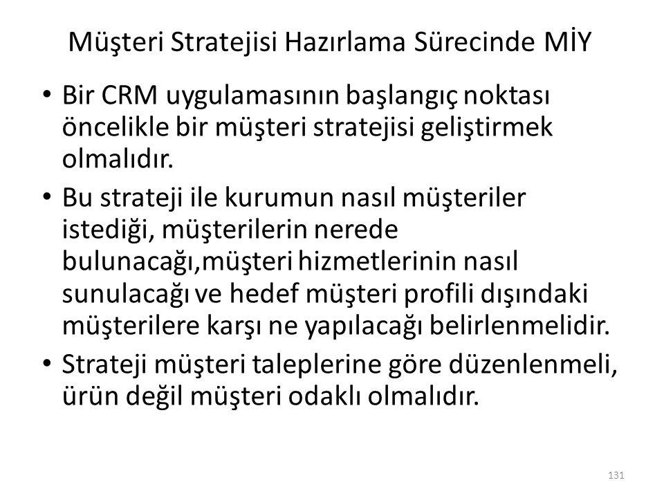 131 Müşteri Stratejisi Hazırlama Sürecinde MİY Bir CRM uygulamasının başlangıç noktası öncelikle bir müşteri stratejisi geliştirmek olmalıdır. Bu stra