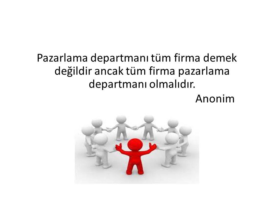 Pazarlama departmanı tüm firma demek değildir ancak tüm firma pazarlama departmanı olmalıdır. Anonim