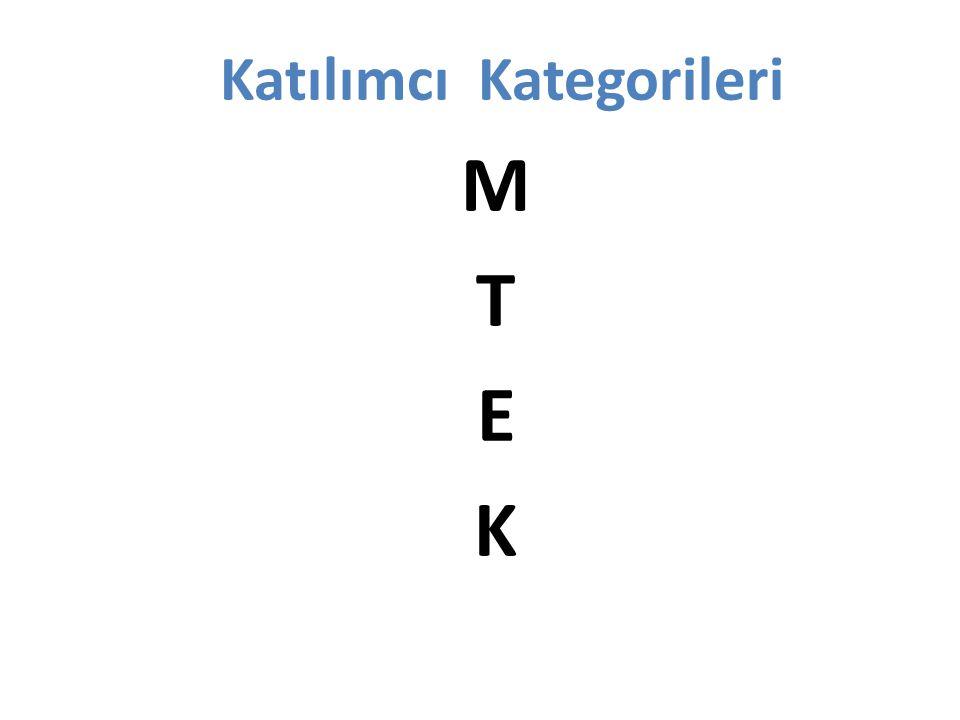 Katılımcı Kategorileri Katılımcı Kategorileri M: Mahkumlar