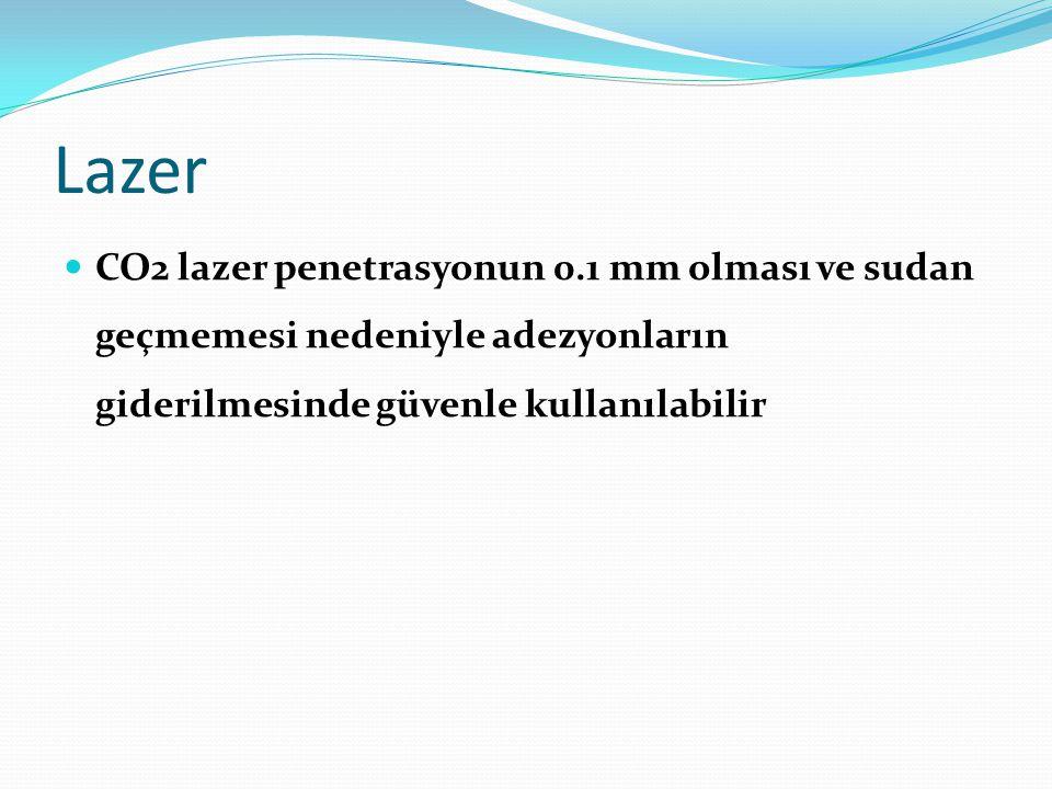 Lazer CO2 lazer penetrasyonun 0.1 mm olması ve sudan geçmemesi nedeniyle adezyonların giderilmesinde güvenle kullanılabilir