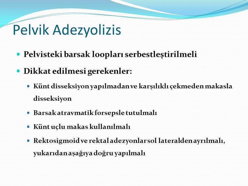 Pelvik Adezyolizis Pelvisteki barsak loopları serbestleştirilmeli Dikkat edilmesi gerekenler: Künt disseksiyon yapılmadan ve karşılıklı çekmeden makas