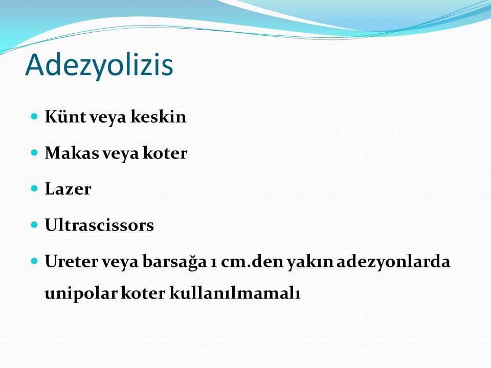 Adezyolizis Künt veya keskin Makas veya koter Lazer Ultrascissors Ureter veya barsağa 1 cm.den yakın adezyonlarda unipolar koter kullanılmamalı