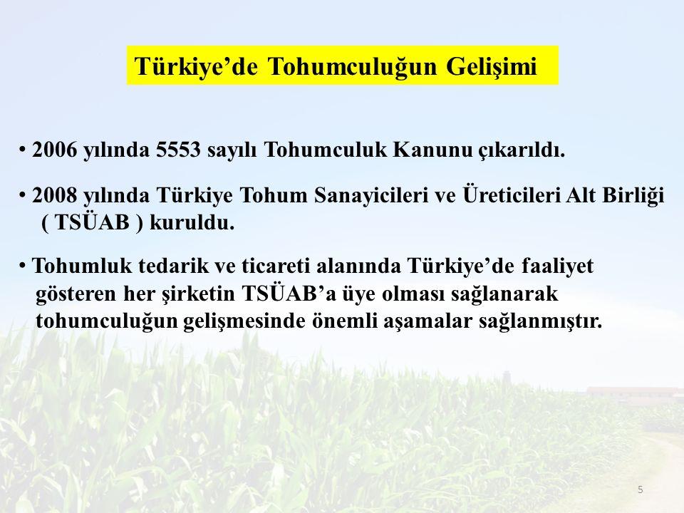 Türkiye'de Tohumculuğun Gelişimi 2006 yılında 5553 sayılı Tohumculuk Kanunu çıkarıldı. 2008 yılında Türkiye Tohum Sanayicileri ve Üreticileri Alt Birl