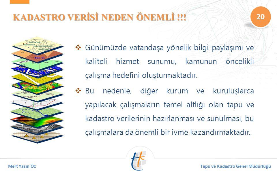 20 Mert Yasin ÖzTapu ve Kadastro Genel Müdürlüğü KADASTRO VERİSİ NEDEN ÖNEMLİ !!.