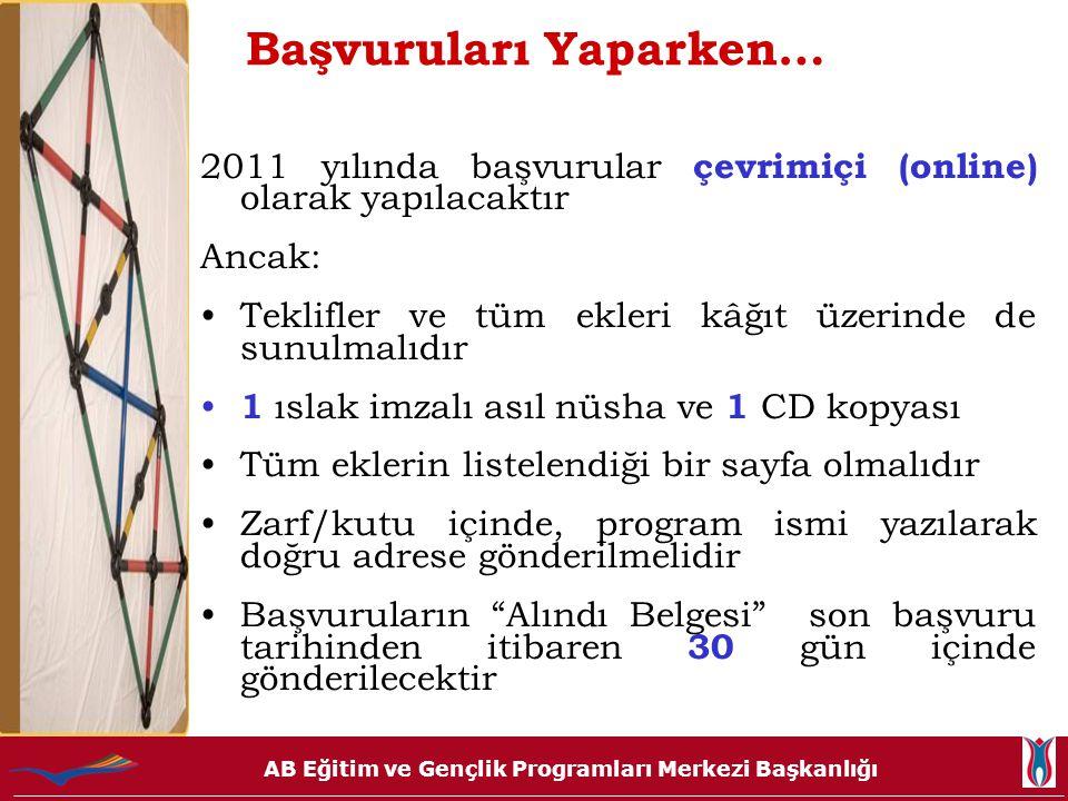 AB Eğitim ve Gençlik Programları Merkezi Başkanlığı Başvuruları Yaparken… 2011 yılında başvurular çevrimiçi (online) olarak yapılacaktır Ancak: •Tekli