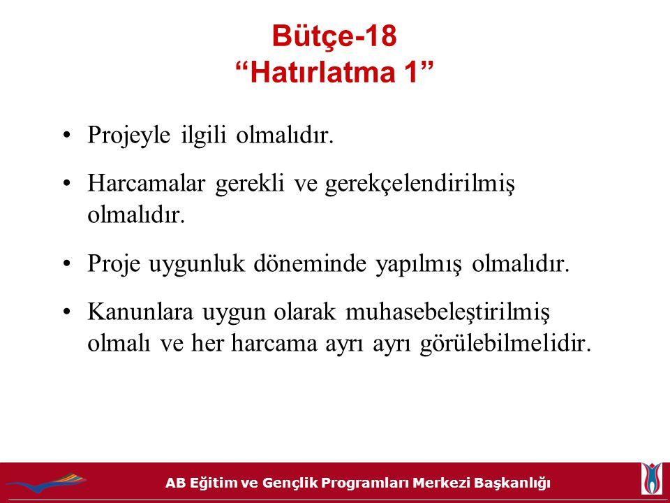 """AB Eğitim ve Gençlik Programları Merkezi Başkanlığı Bütçe-18 """"Hatırlatma 1"""" •Projeyle ilgili olmalıdır. •Harcamalar gerekli ve gerekçelendirilmiş olma"""